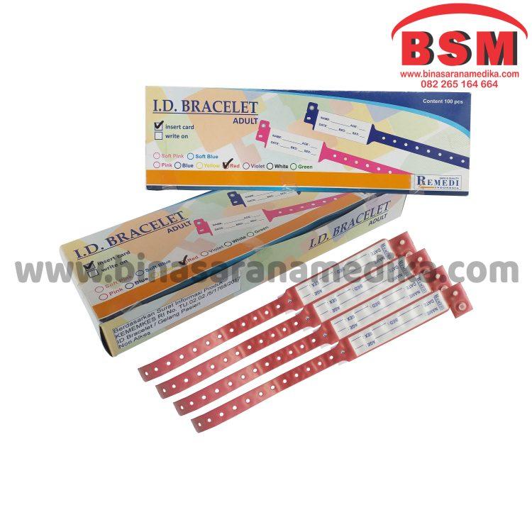 ID Band Dewasa Warna Merah Remedi (Gelang Pasien Rumah Sakit)
