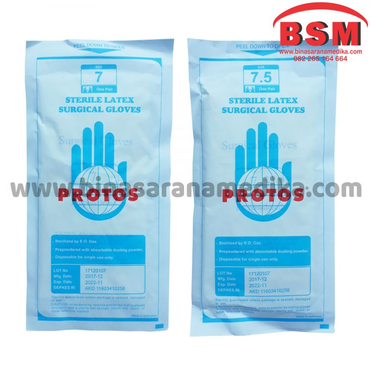 GLOVES PROTOS BIRU PRE POWDERED
